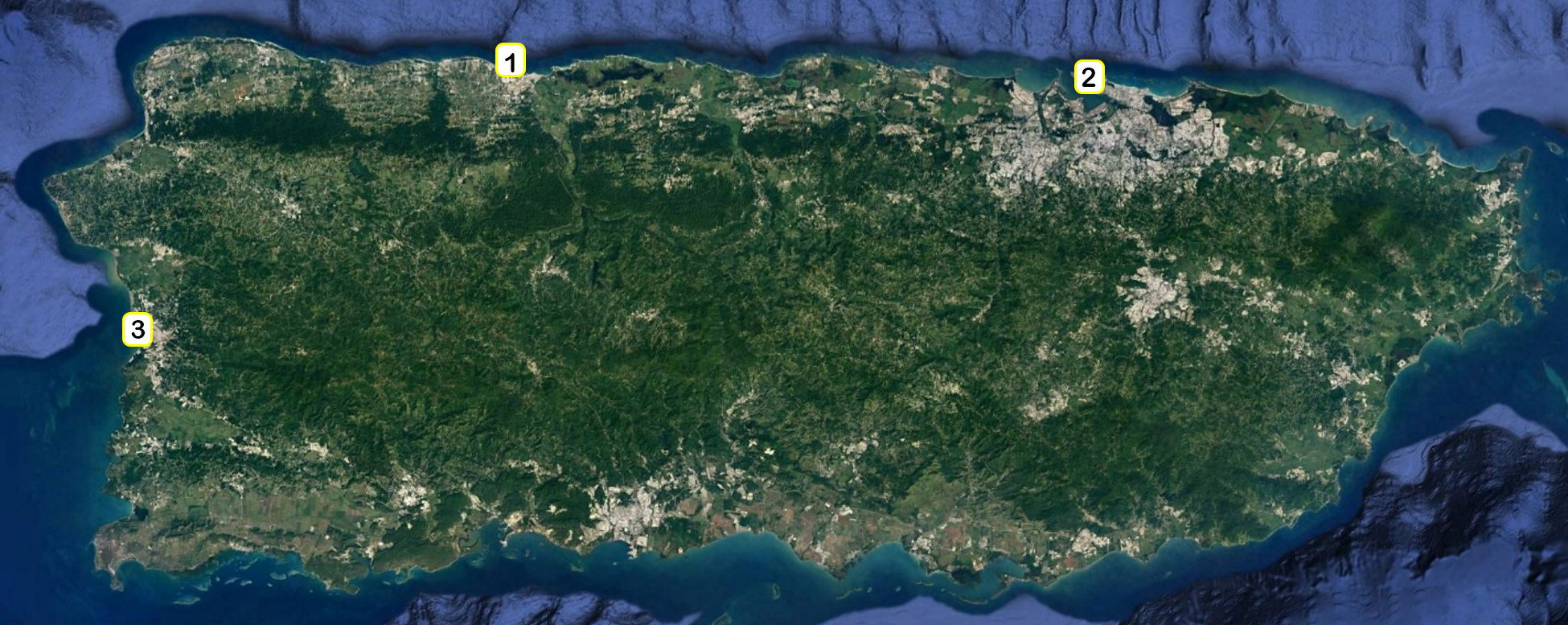 Map of Puerto Rico with numbered location of harbors