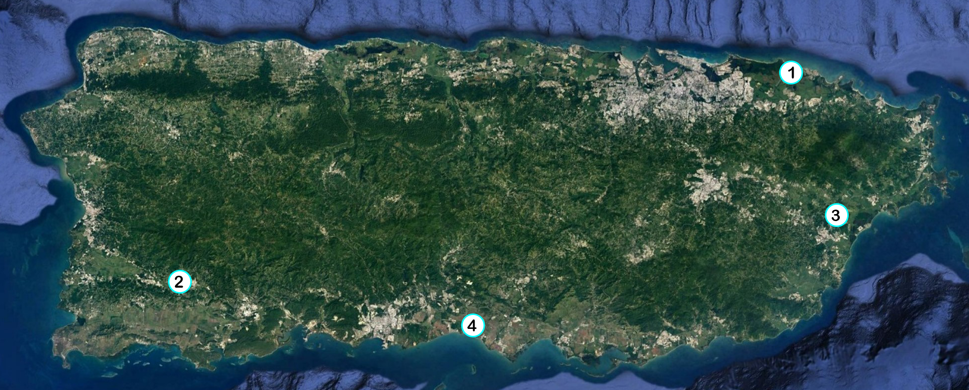 Map of Puerto Rico with numbered location of projects