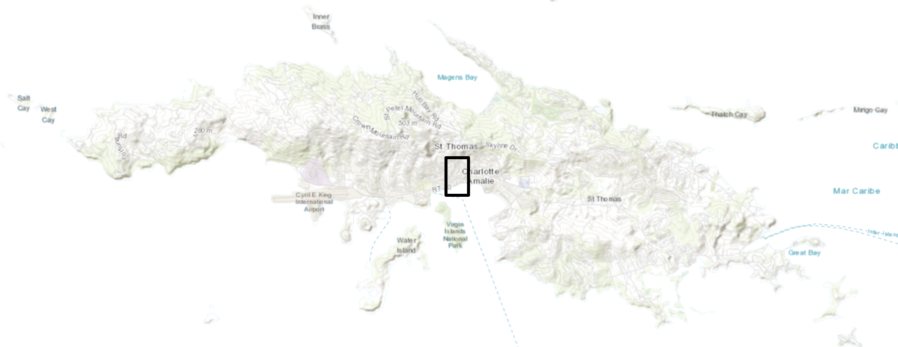 White map of St. Thomas, U.S. Virgin Islands with a black rectangle outlining the project location.