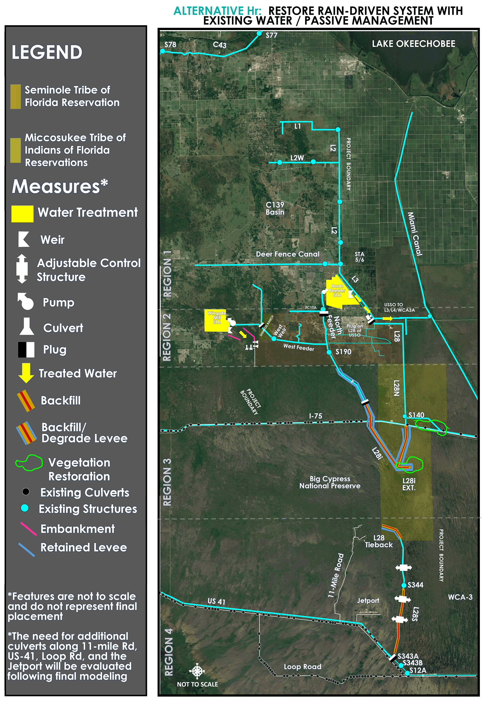 This map shows the WERP project area, with overlays indicating tribal lands of the Seminole and Miccosukee tribes, and proposed features and their locations in Alternative Hr, the tentatively selected plan. Features are not to scale, and do not represent final placement. The need for additional culverts along 11-Mile road, US-41, Loop Road, and the Jetport will be evaluated following final modeling.
