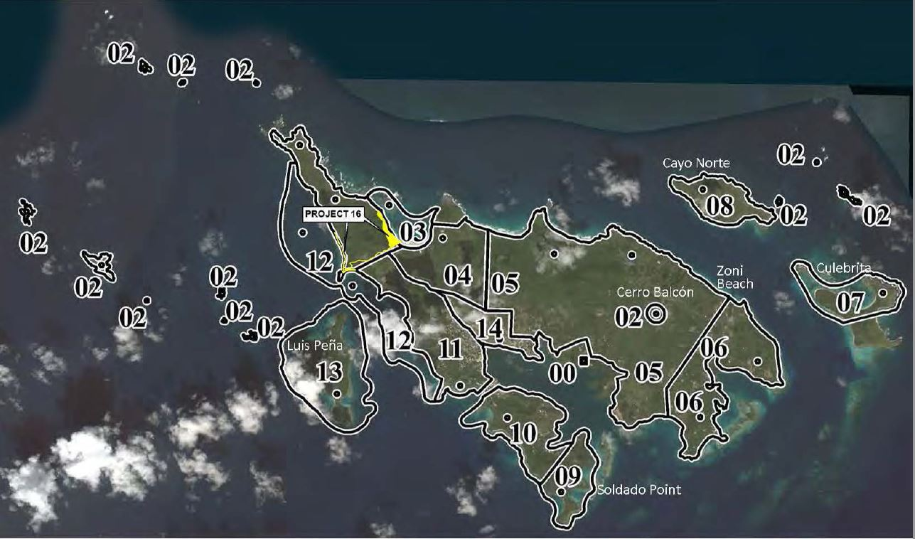 map of Culebra outiling 15 FUDS project areas