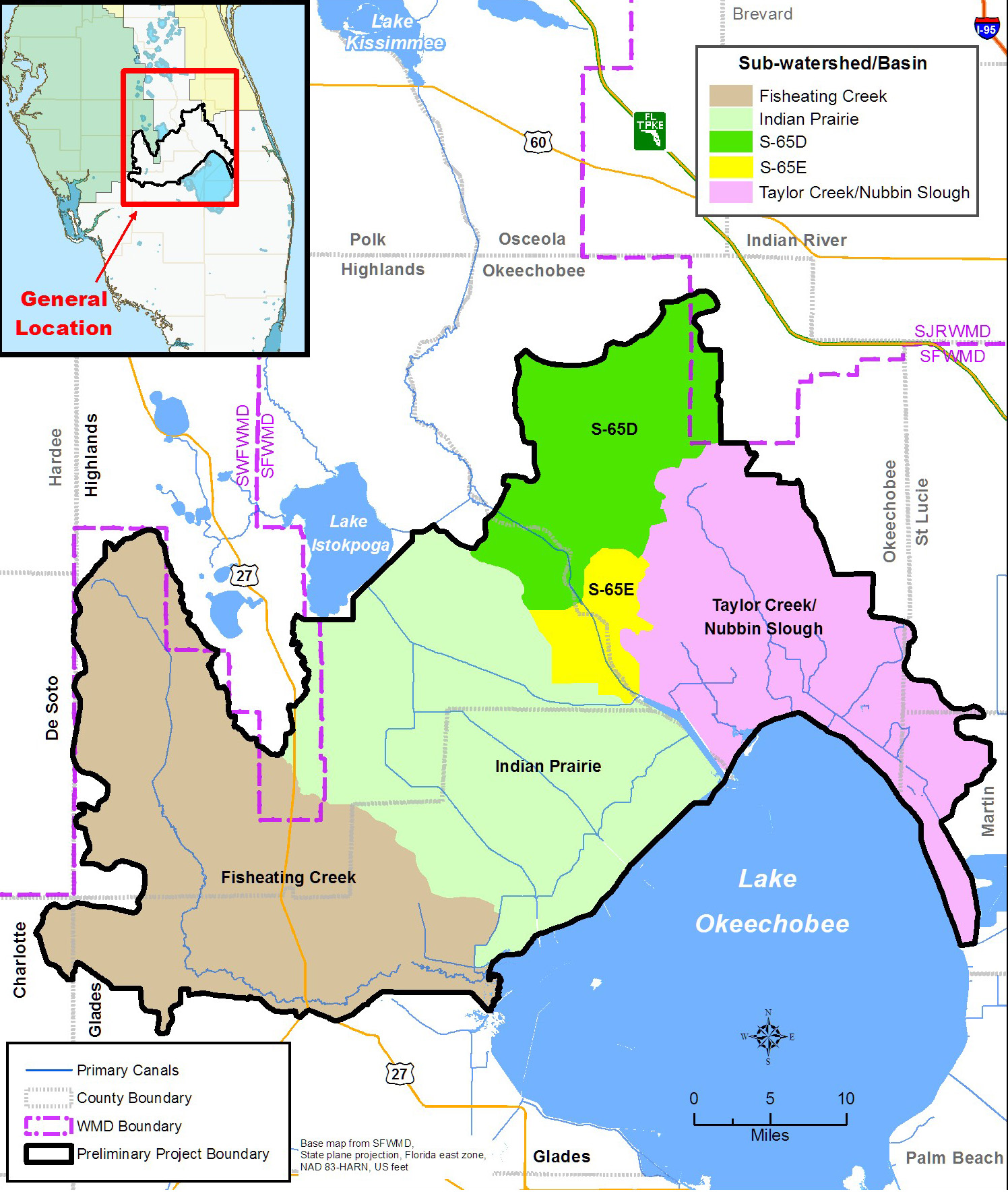 Lake Okeechobee Watershed Project Area Map