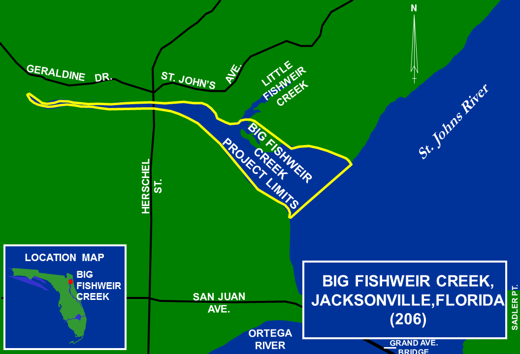 Big Fishweir Creek Florida 206 Map