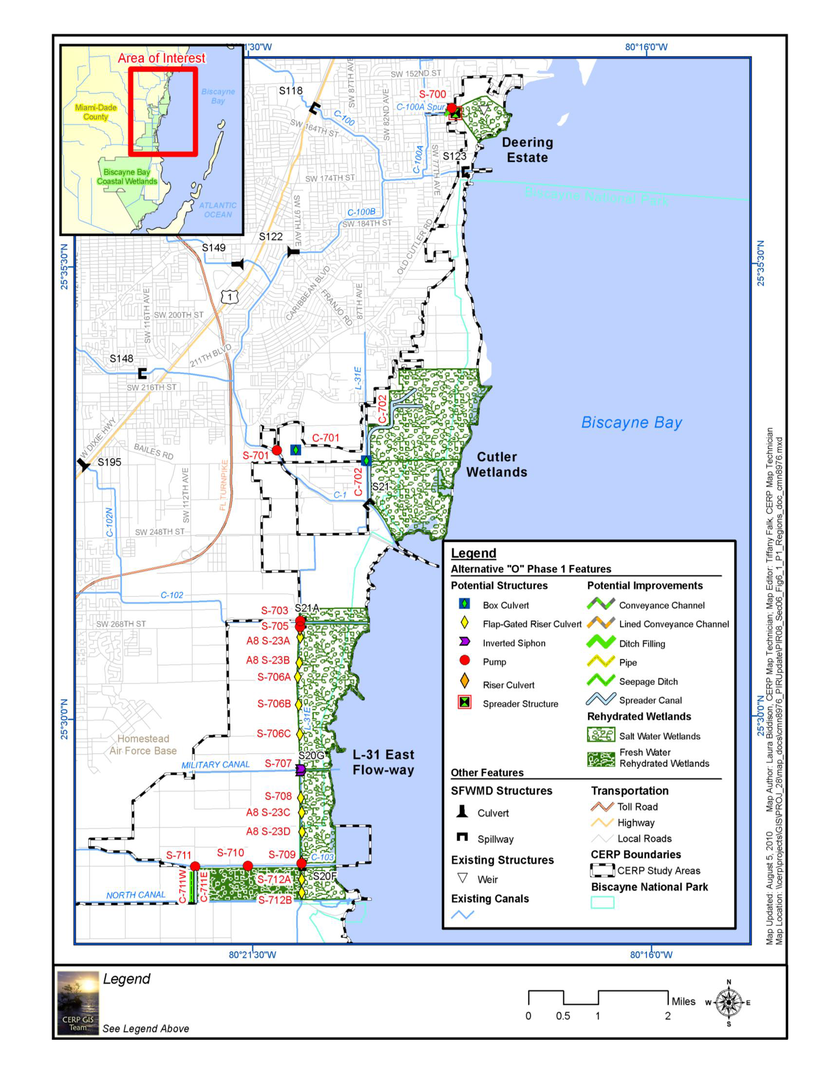 Map of Biscayne Bay Coastal Wetlands project area.