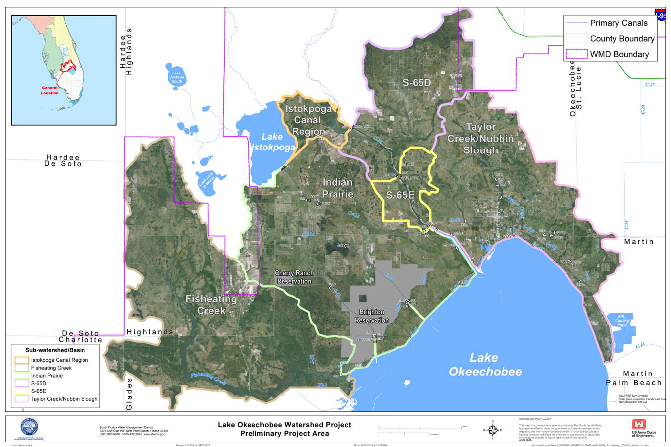 Map of Lake Okeechobee Watershed Restoration project area.
