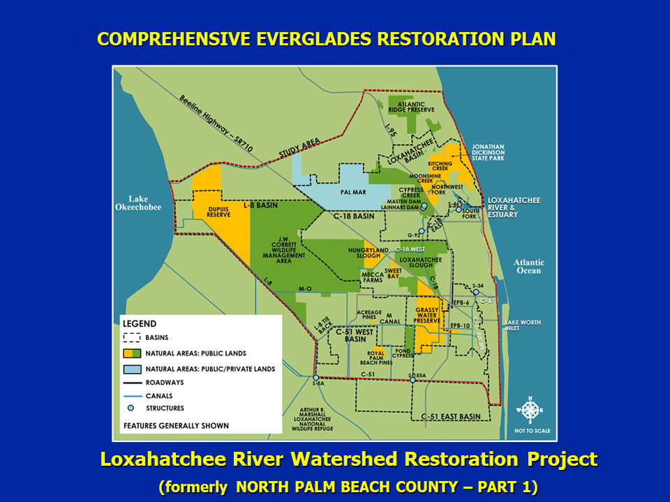 Map of Loxahatchee River Watershed Restoration project area.