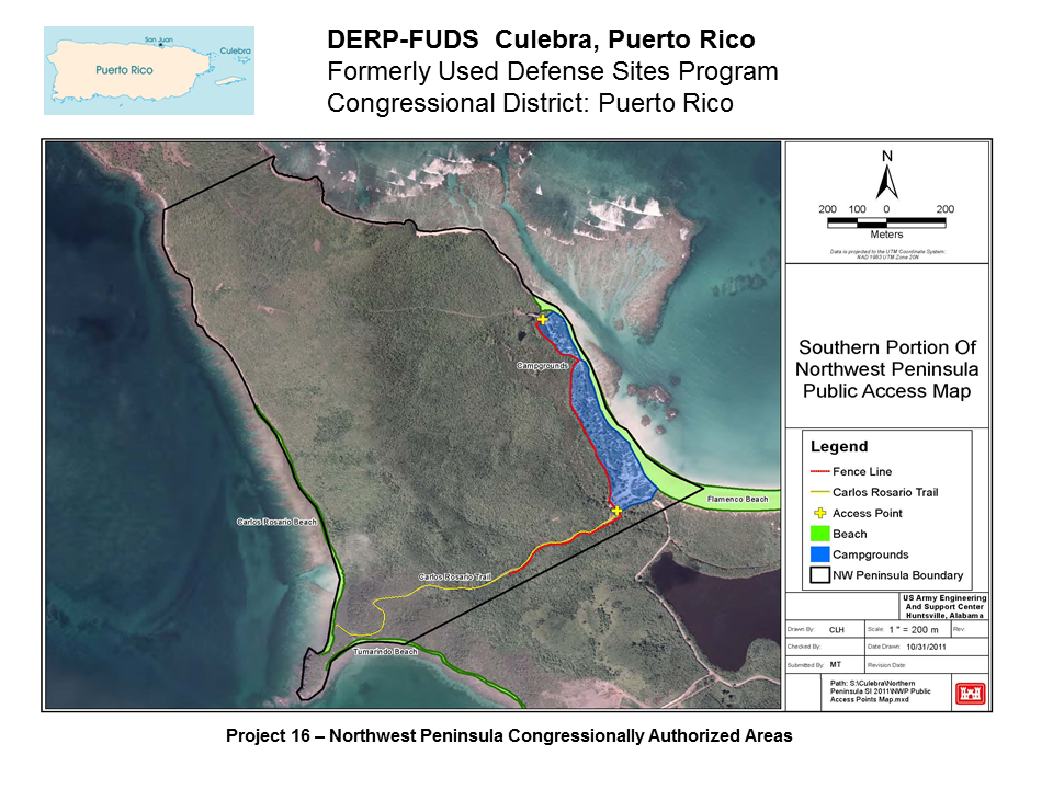 DERP FUDS Culebra Puerto Rico Map of Southern portion of Northwest Peninsula Public Access Map