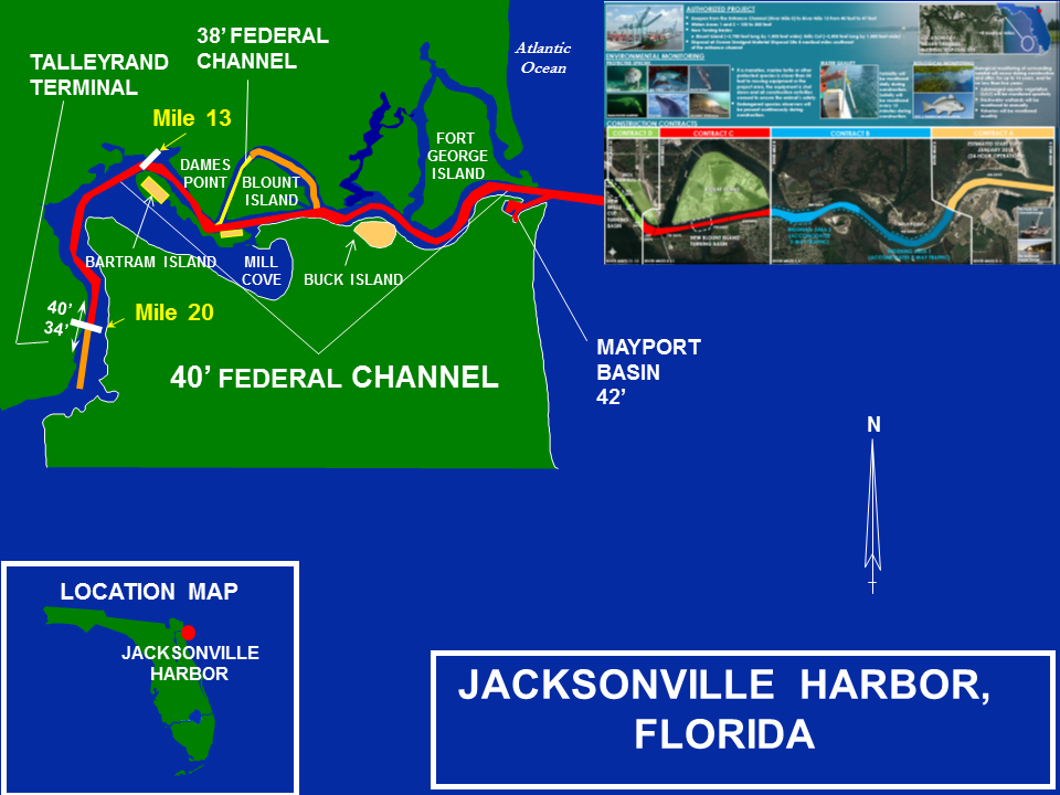 Jacksonville Harbor Deepening project map
