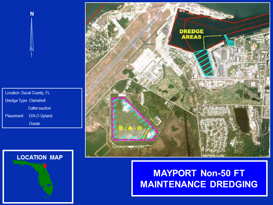 Mayport Navy Operations and Maintenance non-50 foot dredging project map