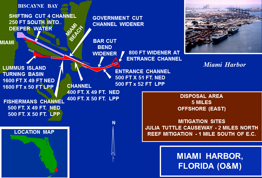 Miami Harbor Operations and Maintenance project map