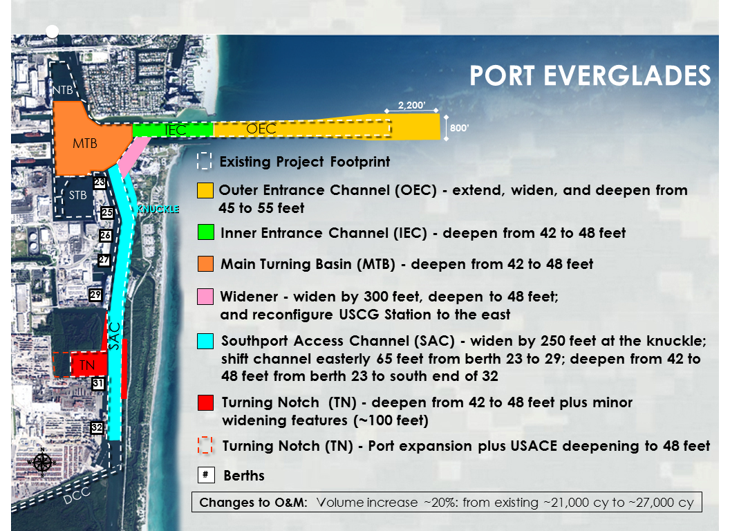 Port Everglades Harbor Deepening Investigation map