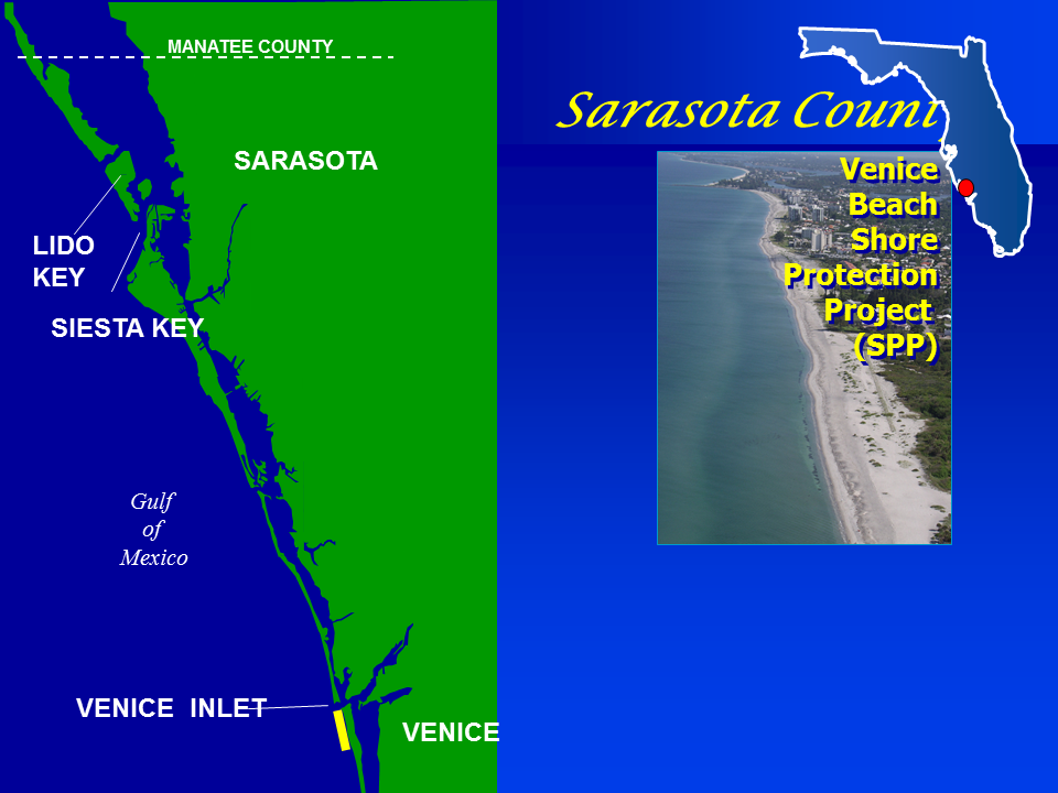 Sarasota County Shore Protection Project map