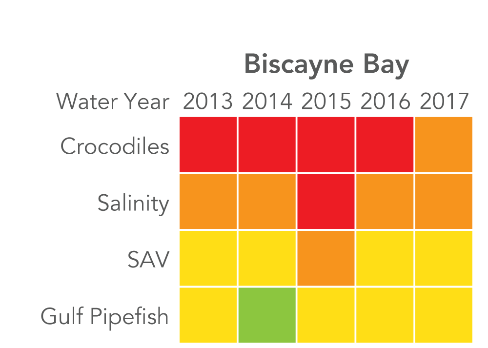 "Biscayne Bay: Crocodiles rated ""very poor"" 2013 to 2016, and ""poor"" in 2017. Salinity rated ""poor"" 2013 to 2014, ""very poor"" 2015, and ""poor"" 2016 to 2017. SAV rated ""fair"" 2013 to 2014, ""poor"" 2015, and ""fair"" 2016 to 2017. Gulf pipefish rated ""fair"" in 2013, ""good"" in 2014, and ""fair"" 2015 to 2017."