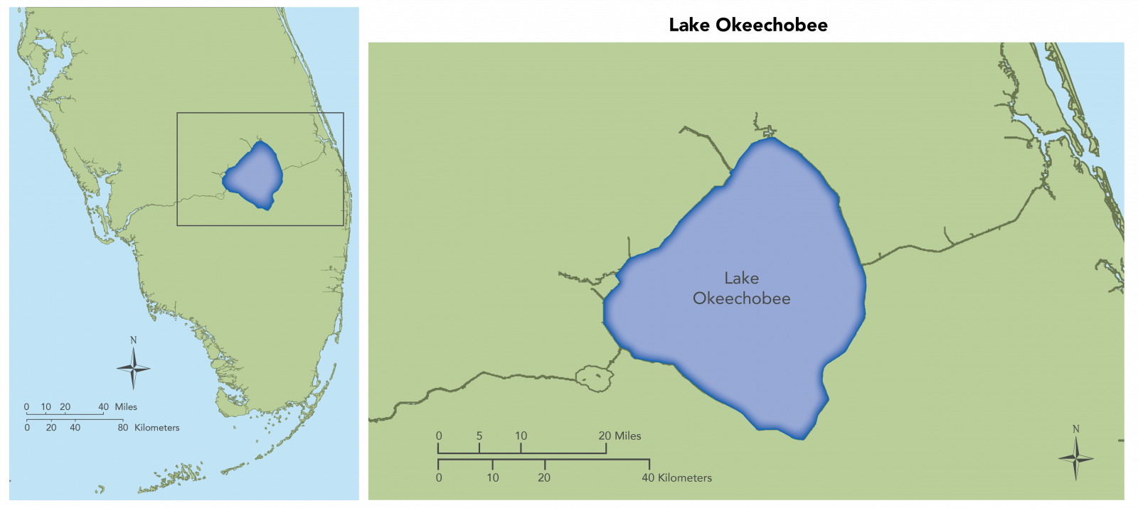 Map showing long view and detail view of Lake Okeechobee. This includes the Caloosahatchee River Estuary, the St. Lucie Estuary and Southern Indian River Lagoon, and the Loxahatchee River Estuary