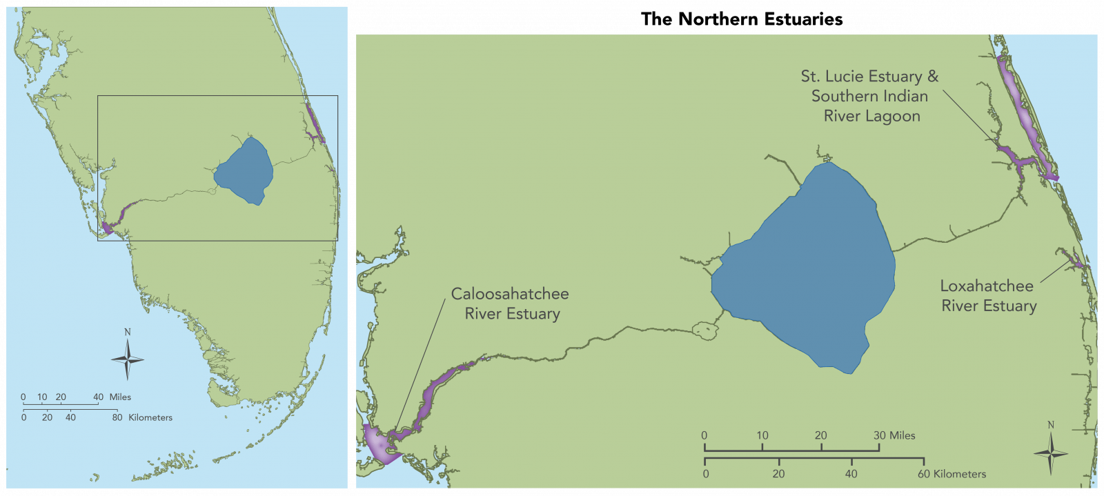 Map showing long view and detail view of the Northenr Estuaries. This includes the Caloosahatchee River Estuary, the St. Lucie Estuary and Southern Indian River Lagoon, and the Loxahatchee River Estuary
