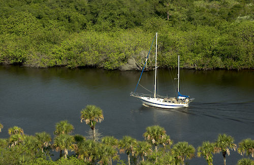 Sailboat moving along the St. Lucie Estuary. Photo by SFWMD