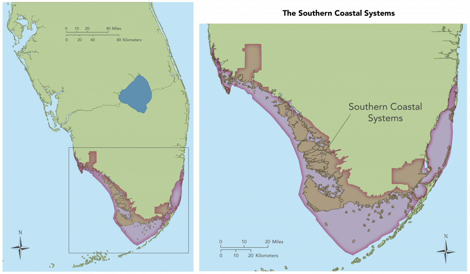 Map showing long view and detail view of the Southern Coastal areas.
