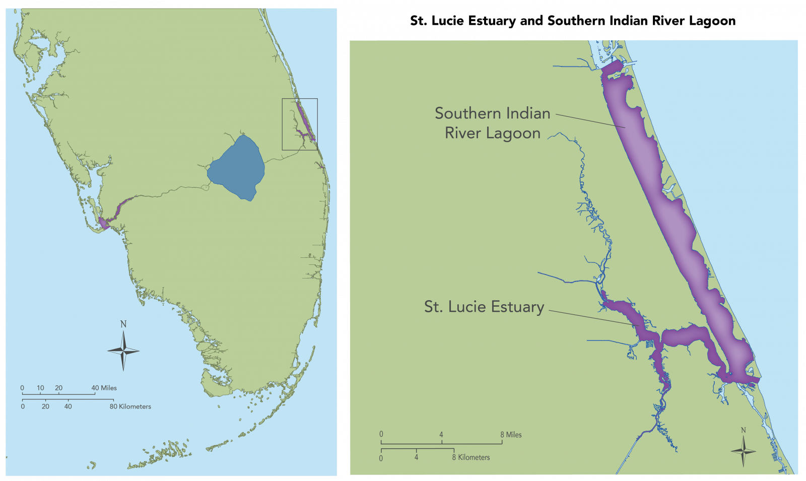 St Lucie Estuary and Southern Indian River Lagoon map showing an overview and a close up of the specific region