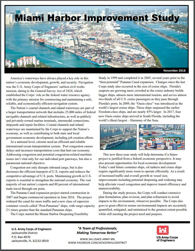 Miami Harbor Navigation Improvement Study Fact Sheet Nov 2018