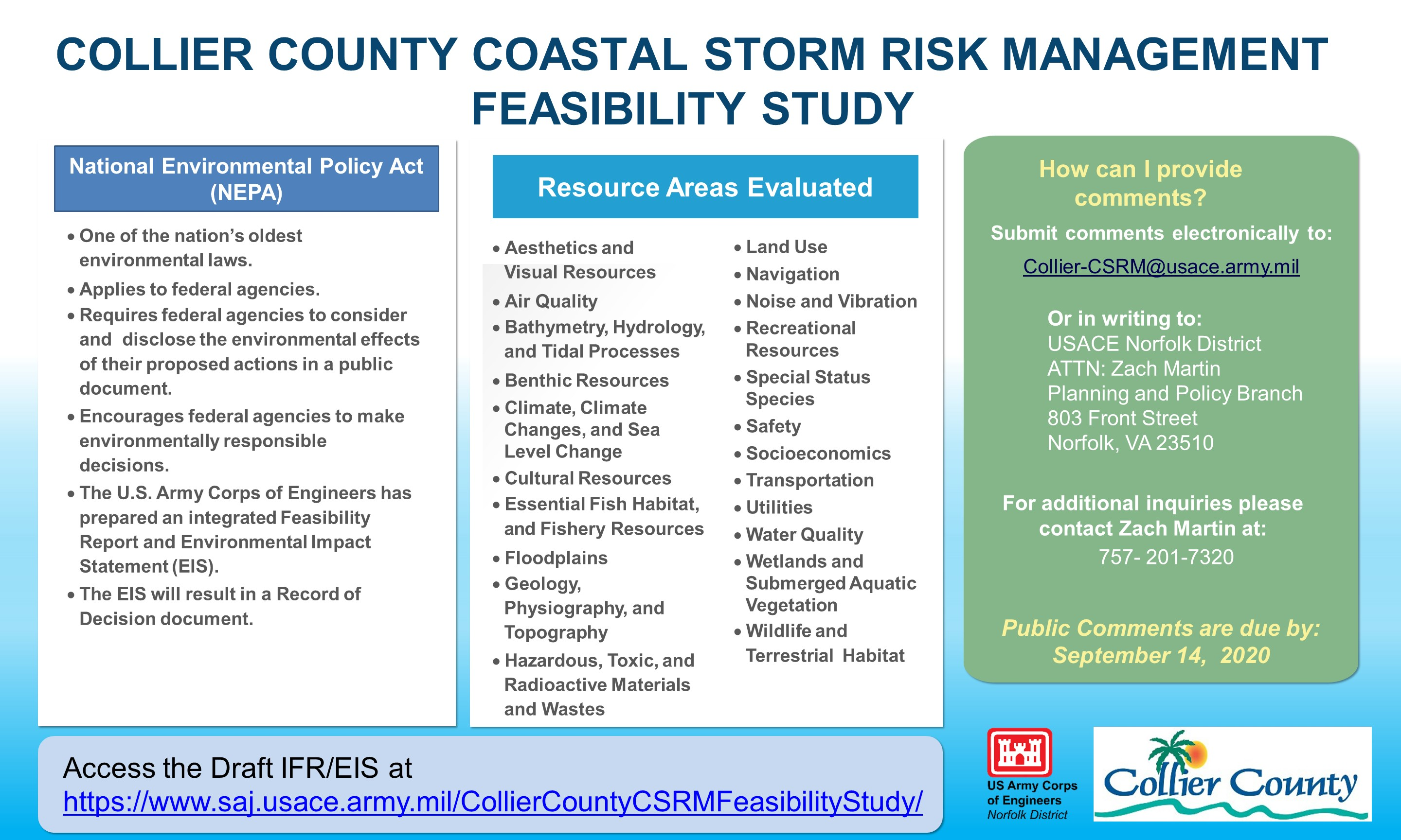 Collier County Coastal Storm Risk Management Feasibility Study Main Board