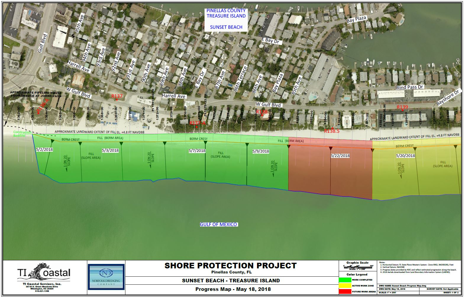 Pinellas County Shore Protection Project Progress Map 1
