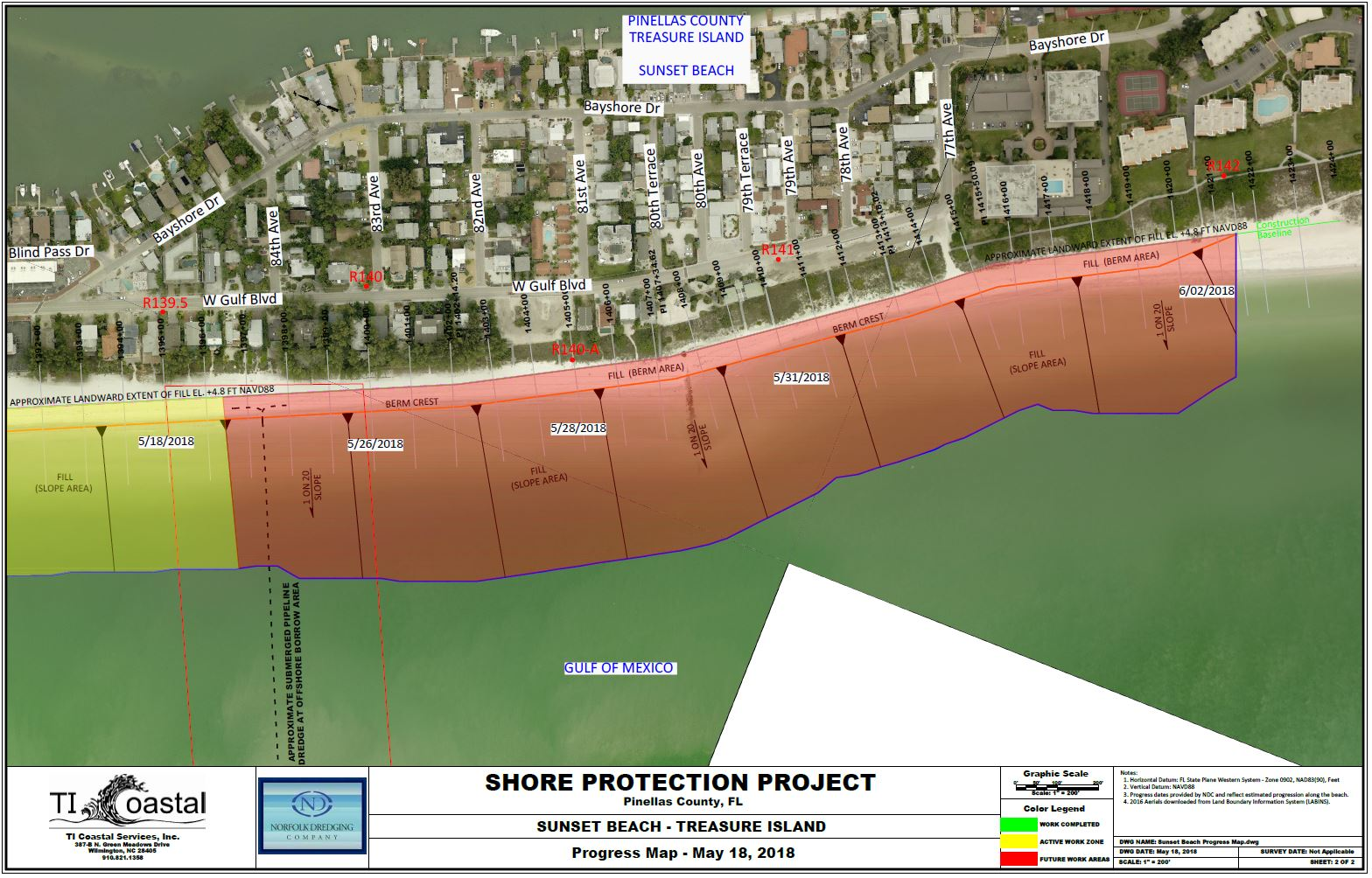 Pinellas County Shore Protection Progress Map two May 18 2018