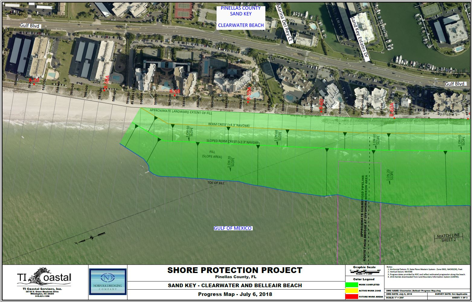 Pinellas County Shore Protection Progress Map July 6 2018 Section 1