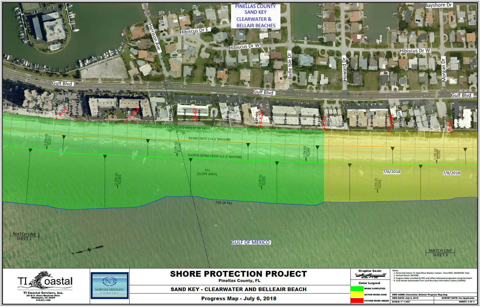 Pinellas County Shore Protection Progress Map July 6 2018 Section 2