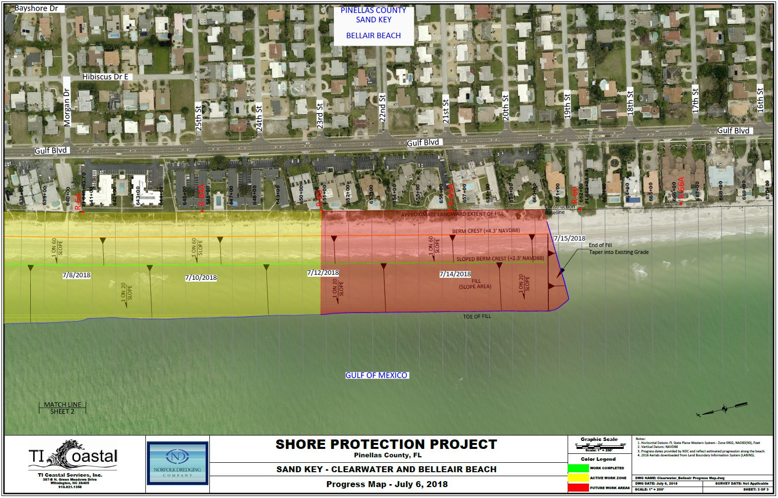 Pinellas County Shore Protection Progress Map July 6 2018 Section 3