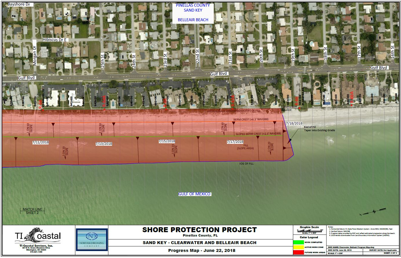 Pinellas County Shore Protection Project Progress Map June 22 2018