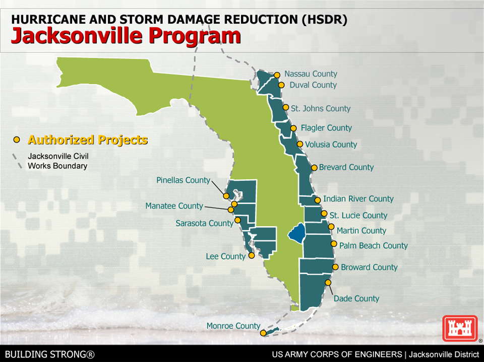 Jacksonville District Shore Protection - Us corps of engineers district map